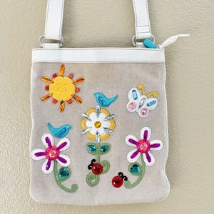 Brighton White Leather Butterly, Sun & Flowers Bag